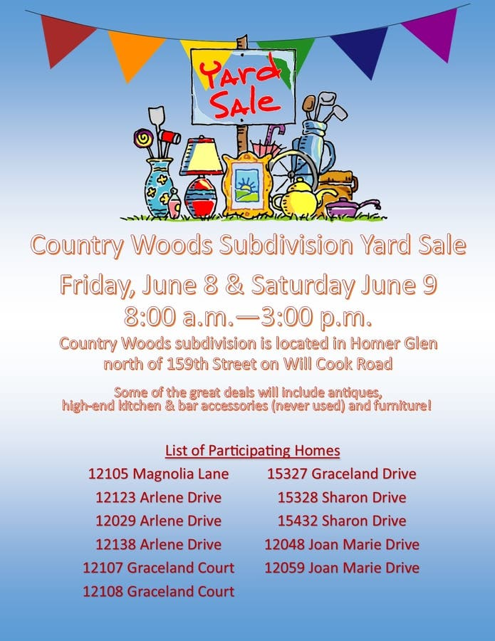 Garage Sales Joliet Il: Country Woods Subdivision