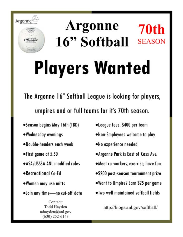 Softball players needed - Argonne 16