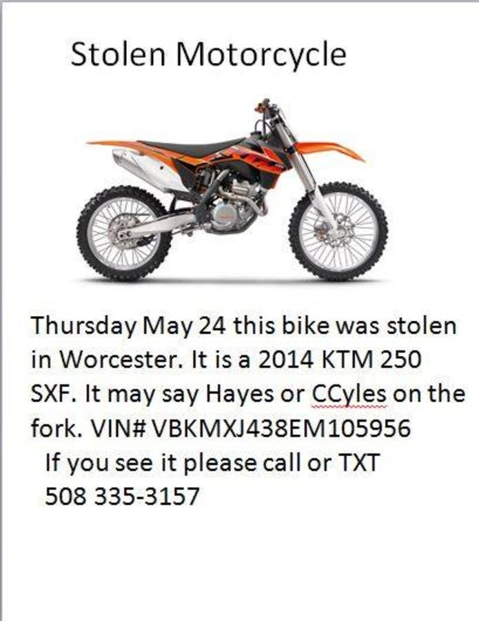 Stolen Dirt Bike Please be on the LOOK OUT - Worcester, MA Patch