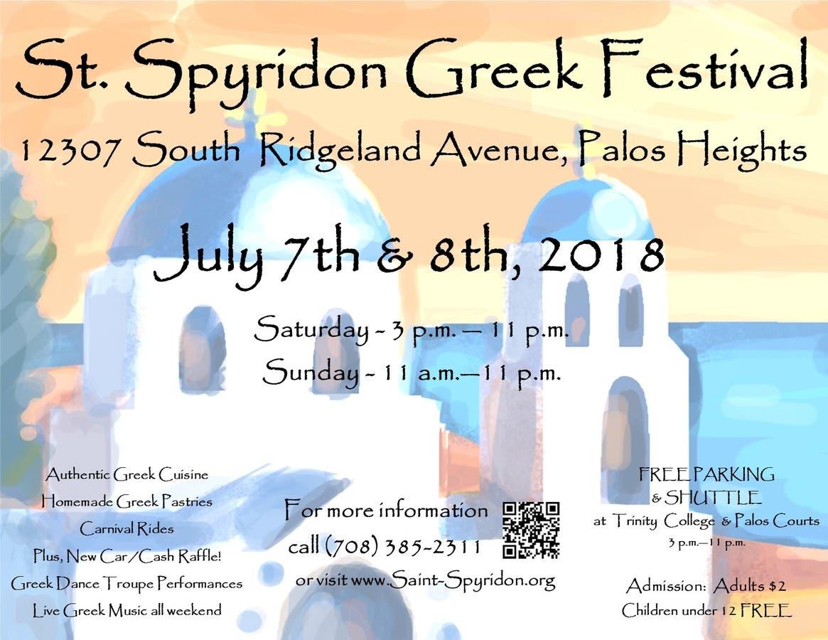 St  Spyridon Greek Fest 2018! July 7th & 8th - Palos, IL Patch