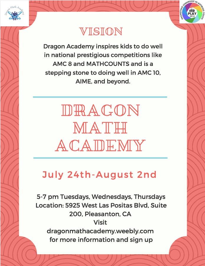 Non Profit Competitive Math Workshop in the month of July