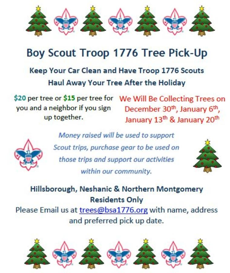 Christmas Fundraiser.Christmas Tree Collection Support Boy Scouts Fundraiser
