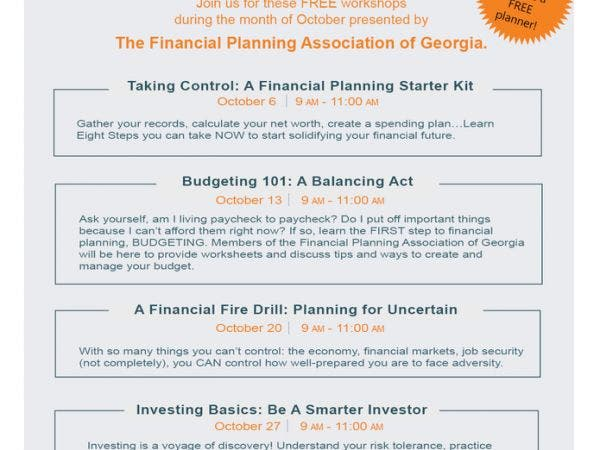 oct 13 free financial planning workshops south cobb ga patch