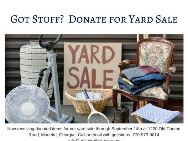 Sep 15 | 2nd Annual Charity Yard Sale to Benefit Military