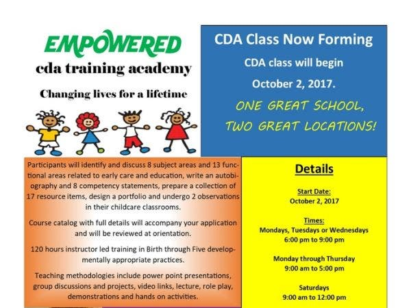 oct 27 | open enrollment for child development associate credential ...