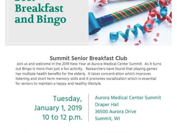 Summit Senior Breakfast Club Welcoming 2019 Bingo