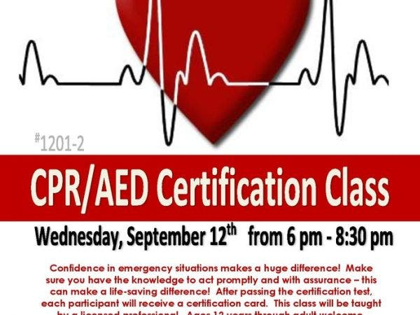 sep 12 | cpr/aed certification class at north riverside parks