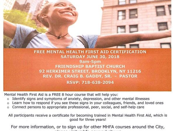 Jun 30 Mental Health First Aid Training Bed Stuy Ny Patch