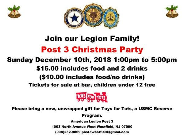 Dec 10 | American Legion Post 3 Christmas Party | Westfield, NJ Patch