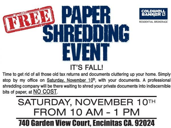nov 10 | free paper shredding event | encinitas, ca patch