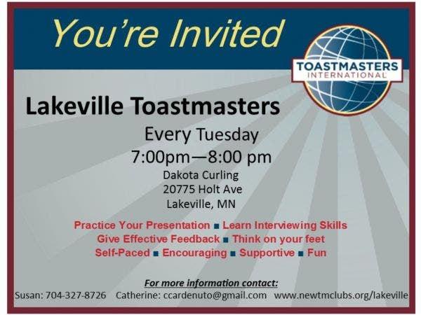 Oct 17 Lakeville Toastmasters Club Meeting Lakeville Mn Patch