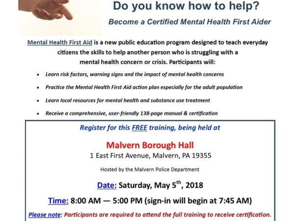 May 5 Adult Mental Health First Aid Training Malvern Pa Patch
