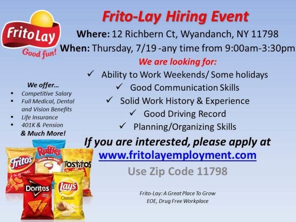 Jul 19 Frito Lay Hiring Event 7 19 9am 3 30pm 12 Richbern Ct