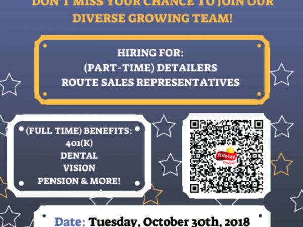 Oct 30 Frito Lay Hiring Event Tues 10 30 9am 3 30pm Deer