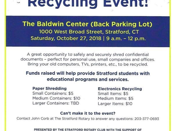 oct 27 paper shredding and electronics recycloing event