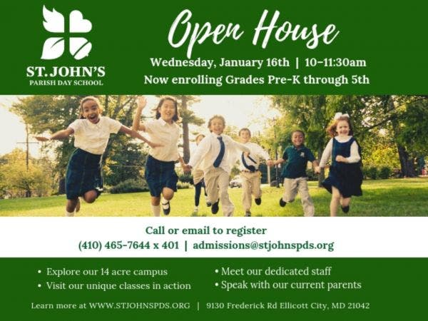 Jan 16 St Johns Parish Day School Open House Ellicott City Md