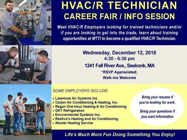 Dec 12 Hvacr Technician Career Fair Info Session At Mtti In