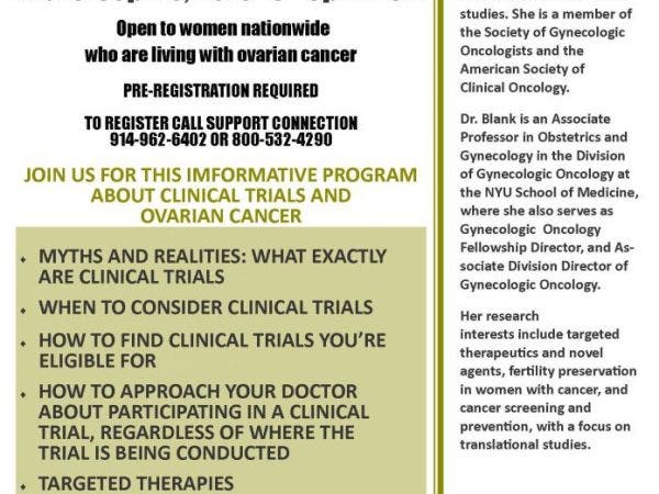 Sep 15   Clinical Trials and Ovarian Cancer   Yorktown-Somers, NY Patch