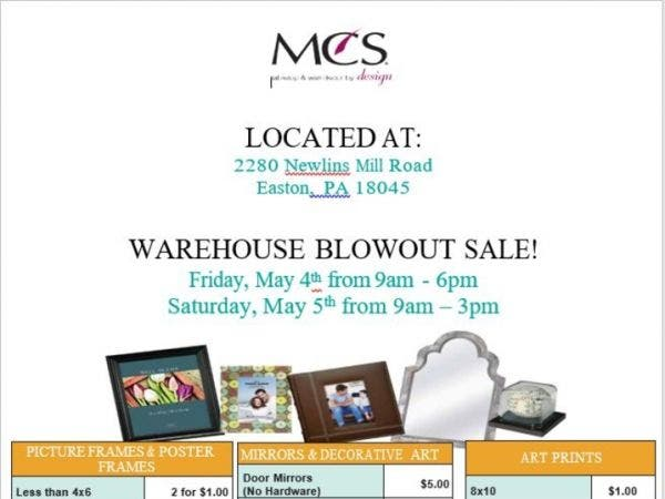 May 4 Mcs Warehouse Sale Palmer Forks Pa Patch