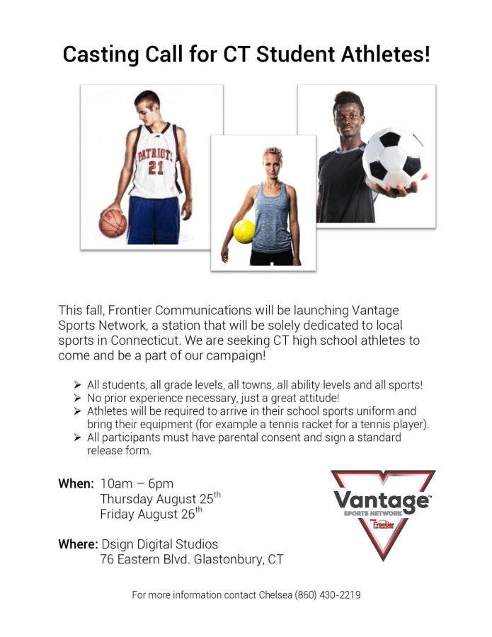 Aug 25 | Casting Call for Connecticut Student Athletes