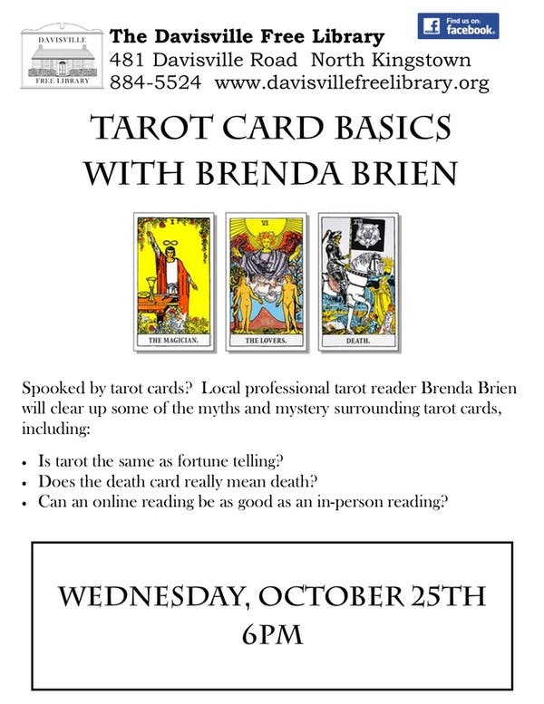 Oct 25 | Tarot Card Basics with Brenda Brien at the