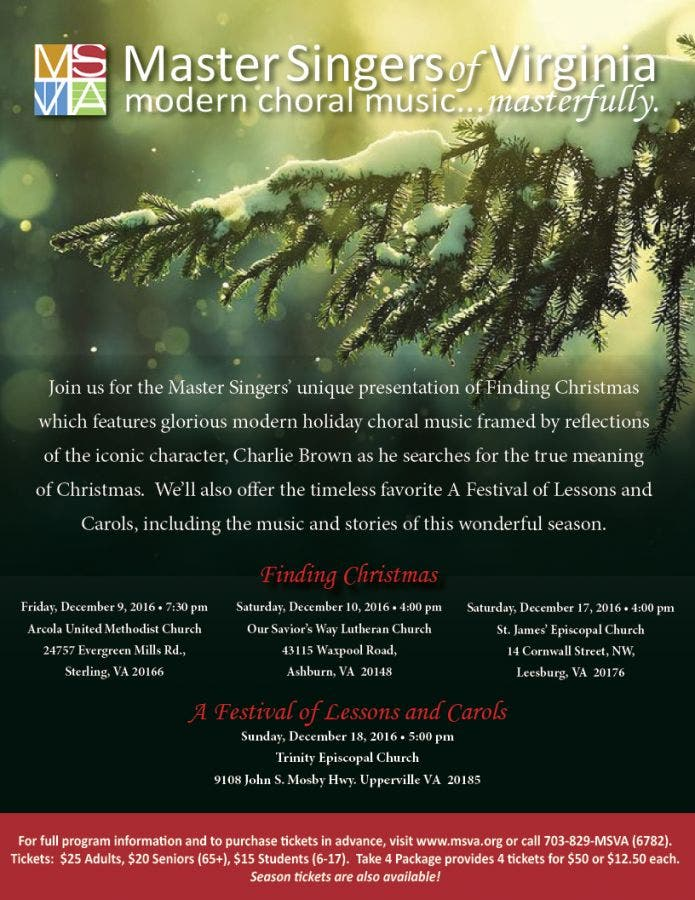 Dec 31 | Master Singers of Virginia Presents Finding