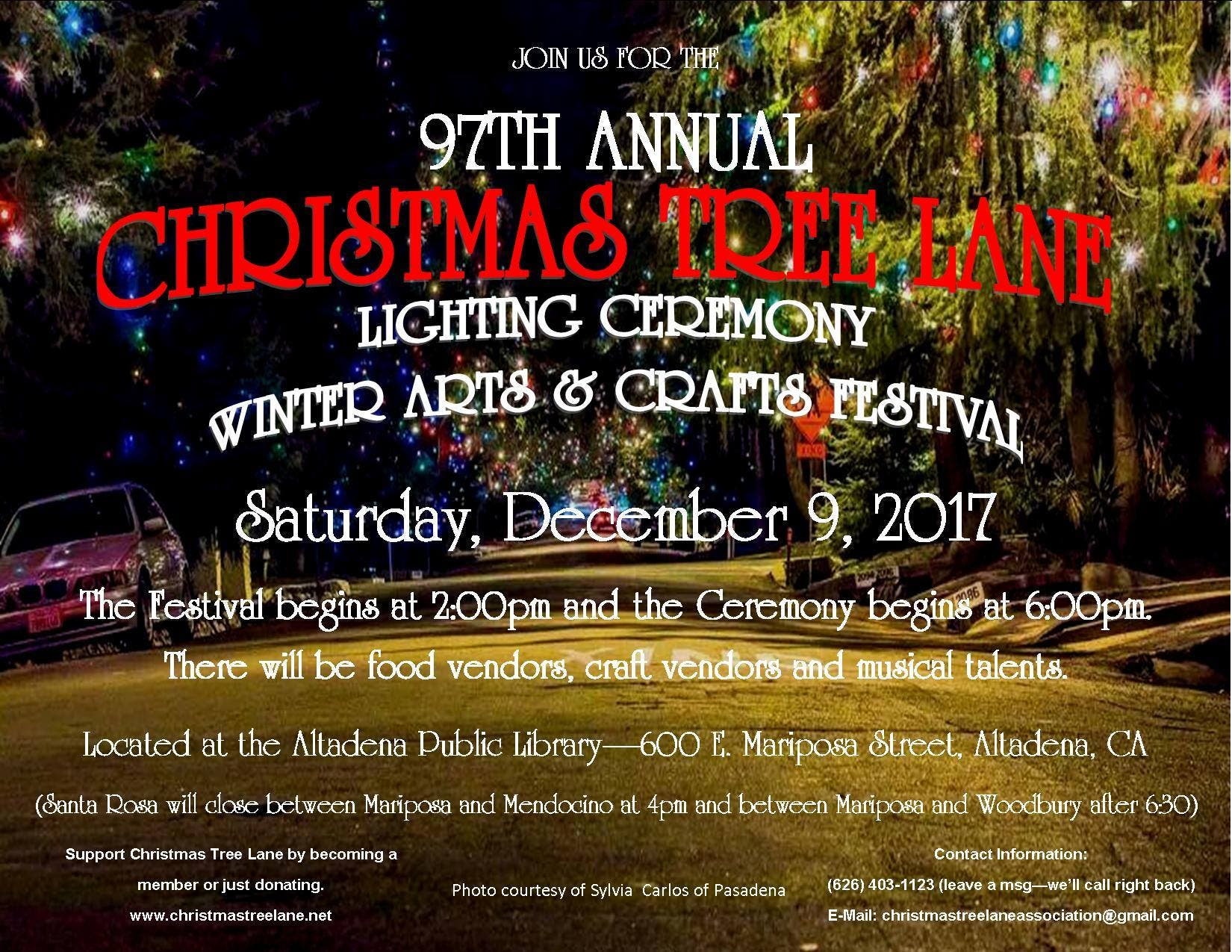 Christmas Tree Lane.Dec 9 Christmas Tree Lane Holiday Lighting Crafts Fest