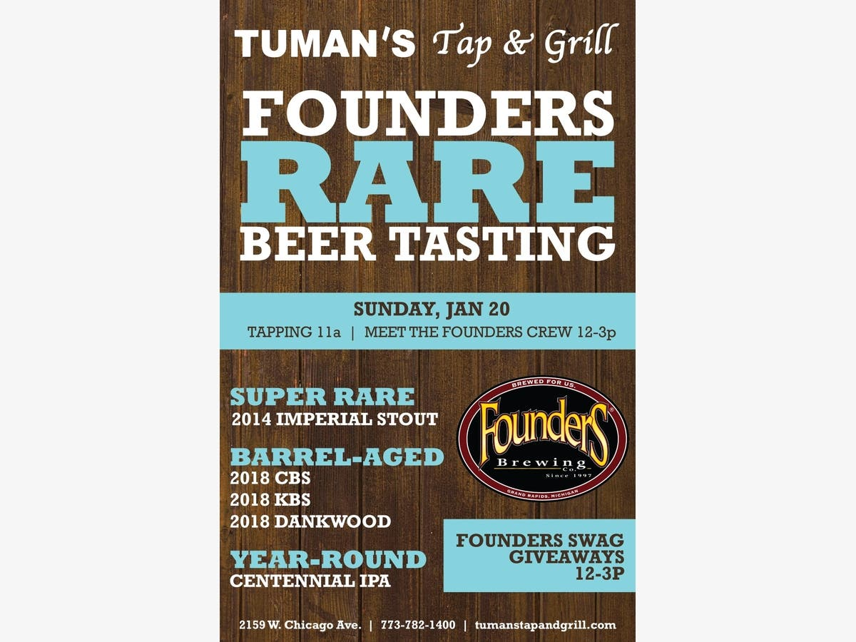 Jan 20 | Founders Brewing Company Rare Beer Tapping at Tuman's Tap