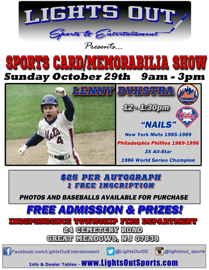 Oct 29 Sports Card Memorabilia Show With Lenny Dykstra