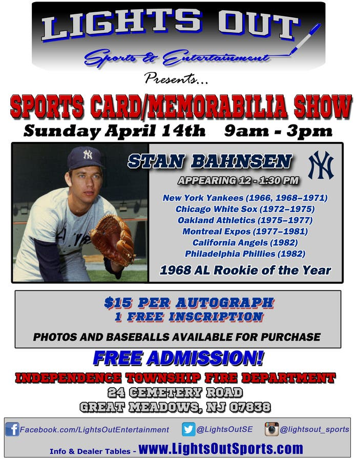 Apr 14 Sports Card Memorabilia Show Hackettstown Nj Patch
