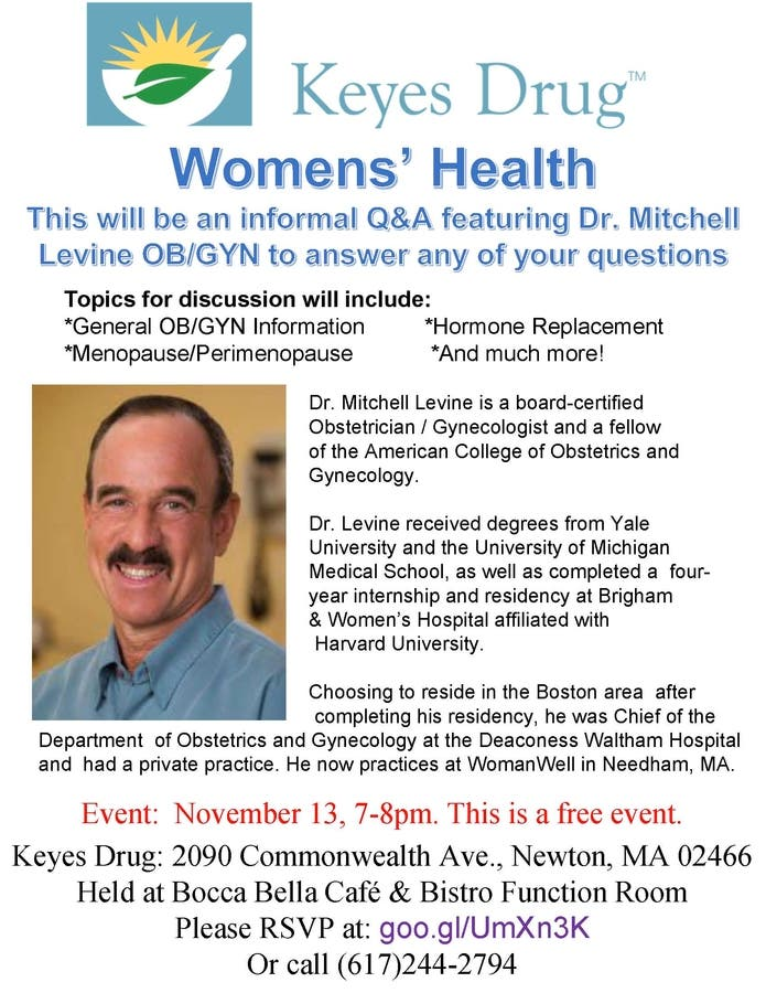 Nov 13 | Keyes Drug Lecture on Women's Health | Newton, MA Patch