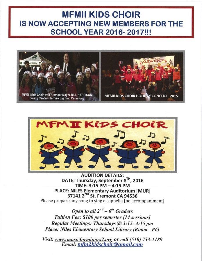 Dec 31   Love To Sing? Join the MFMII Kids Choir   Fremont
