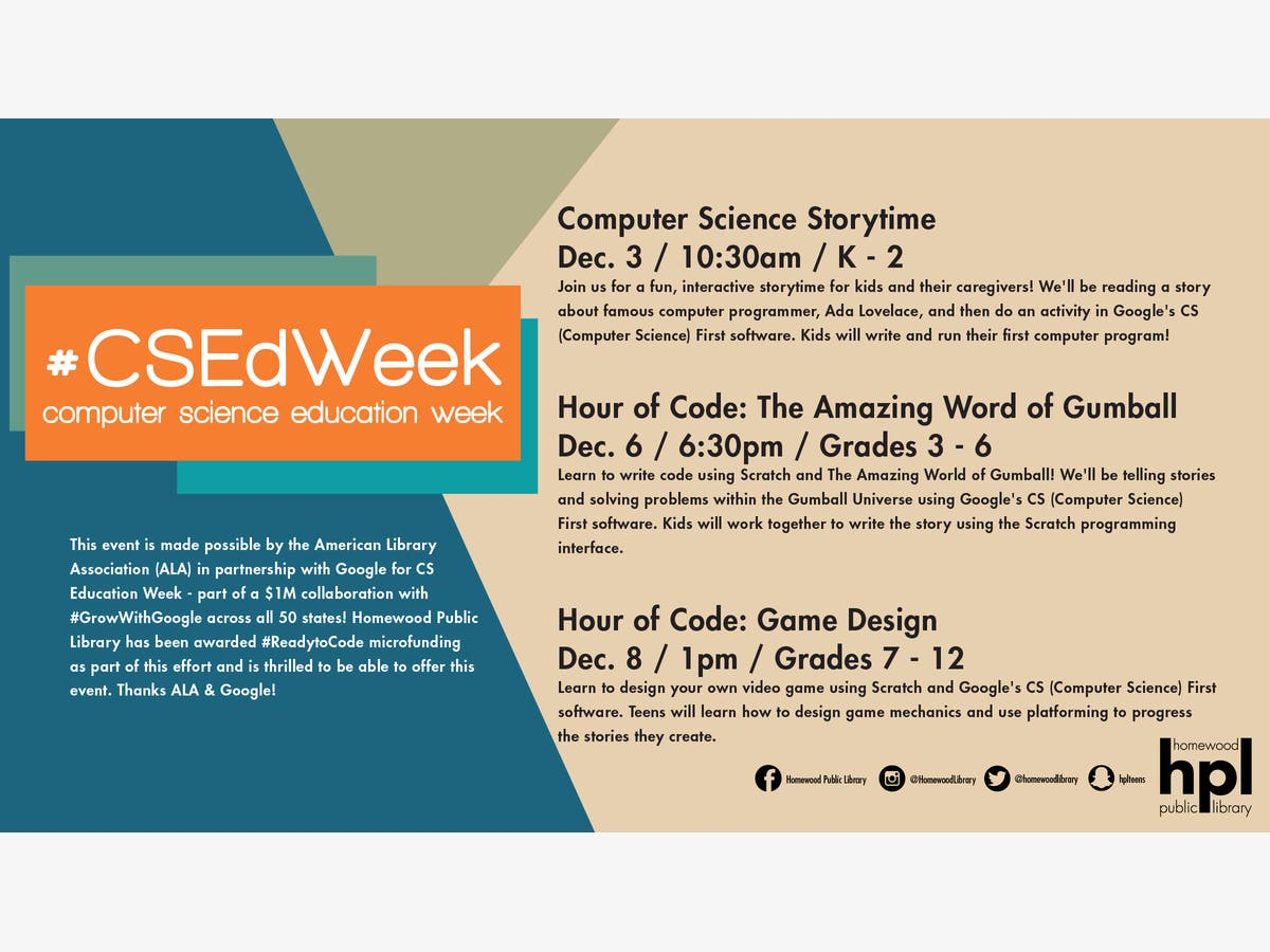 Dec 12 | Hour of Code: Game Design #CSEdWeek | Homewood