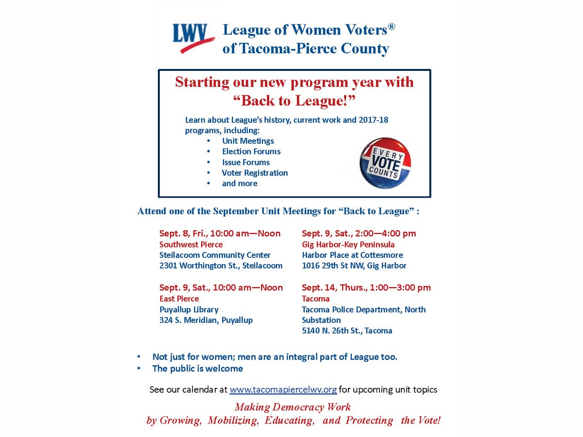 Dec 31 | League of Women Voters of Tacoma-Pierce County