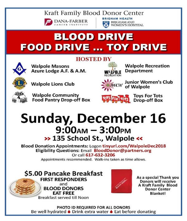 Dec 16 Walpole Masons Blood Food Toy Drive Walpole Ma