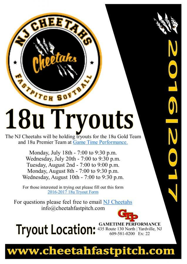 Aug 2 | NJ Cheetahs 18u Softball Tryouts | Lawrenceville, NJ