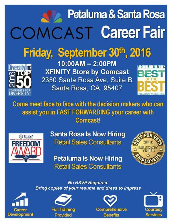 Sep 30 | Comcast Career Fair | Retail Sales | Santa Rosa, CA