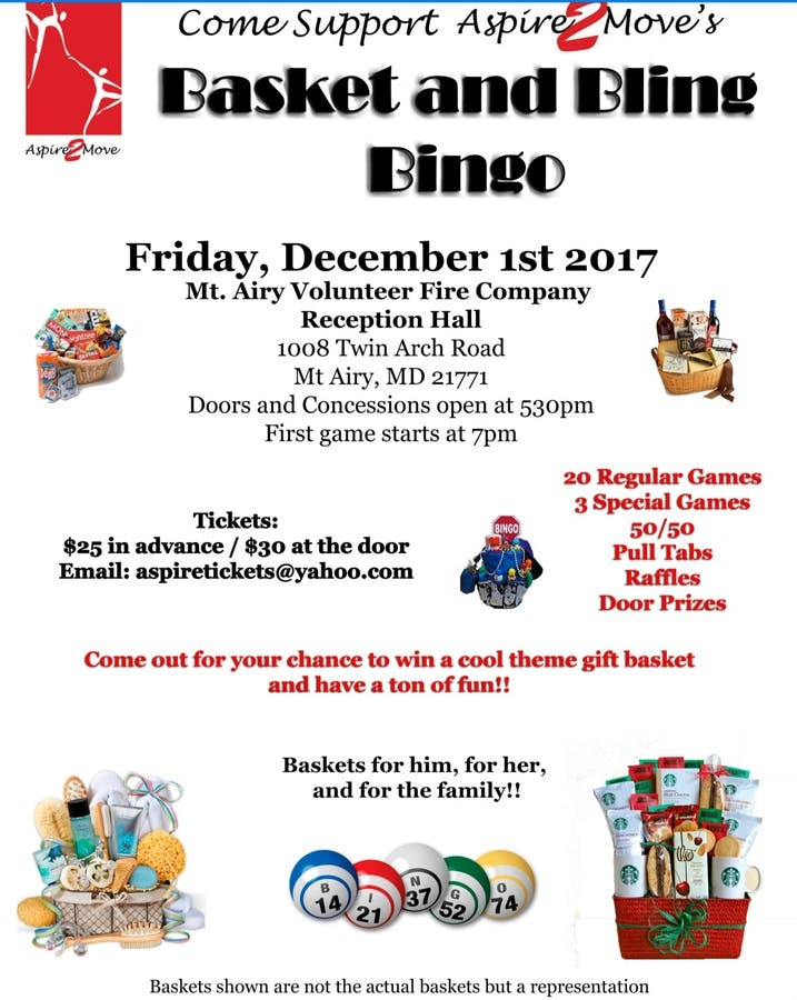 Dec 1 | Aspire2Move Basket and Bling Bingo | Across Maryland, MD Patch