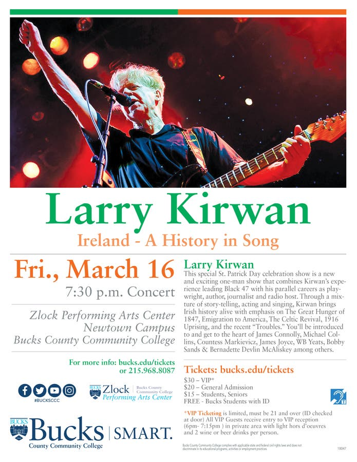 Mar 16 | Larry Kirwan: Ireland - A History in Song | Newtown