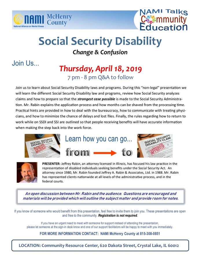 Apr 18 | NAMI Talks- Social Security Disability: Change & Confusion