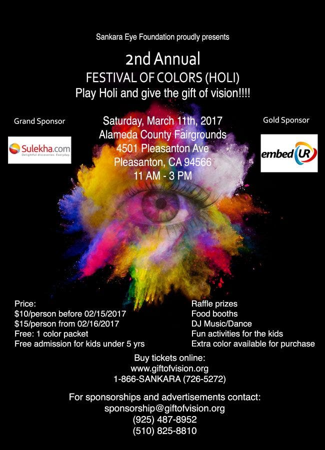 Mar 11   SEF Holi (Festival of Colors) 2017 - March 11, 2017