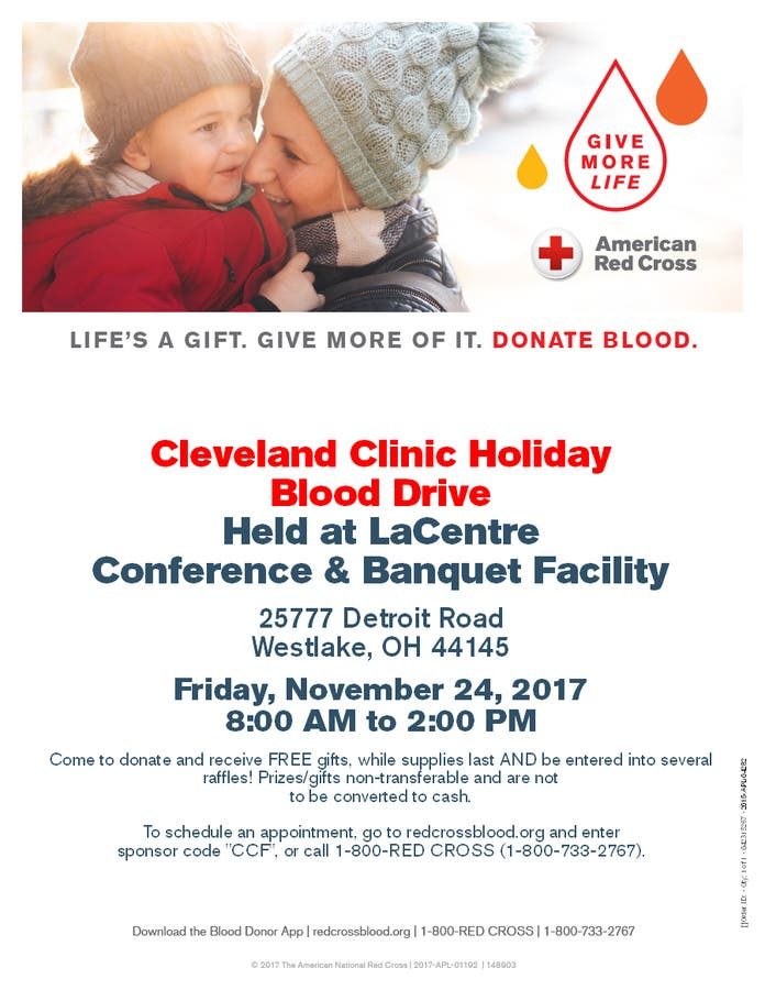 Nov 24 | Cleveland Clinic Holiday Blood Drive at LaCentre in