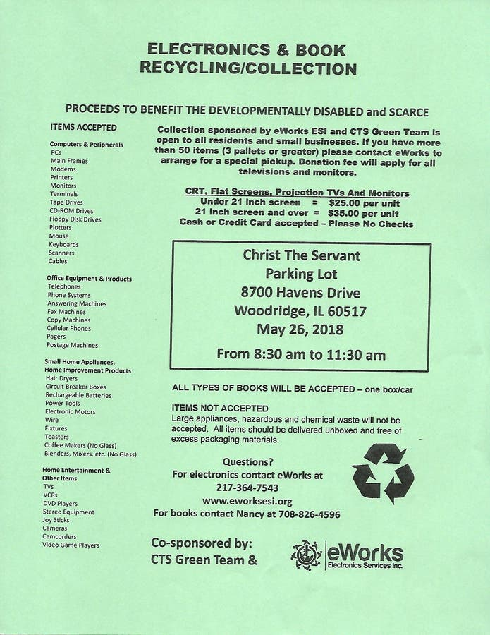 May 26 | Electronics & Book Recycling /collection | Lemont