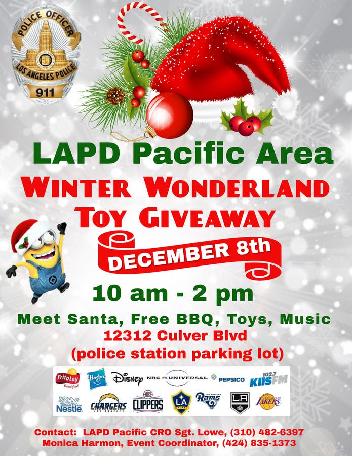 Christmas Giveaway Flyer.Dec 8 Lapd Pacific Area Annual Winter Wonderland Toy