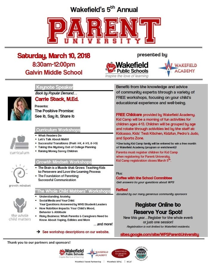 Parent Workshop In Wakefield March 11th >> Mar 10 Registration Now Open For The 5th Annual Parent University