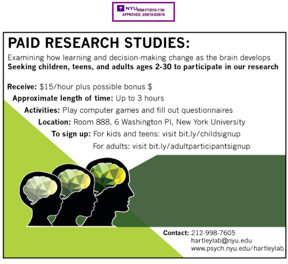 Aug 25 | Paid Studies for Kids, Teens, and Adults at the NYU