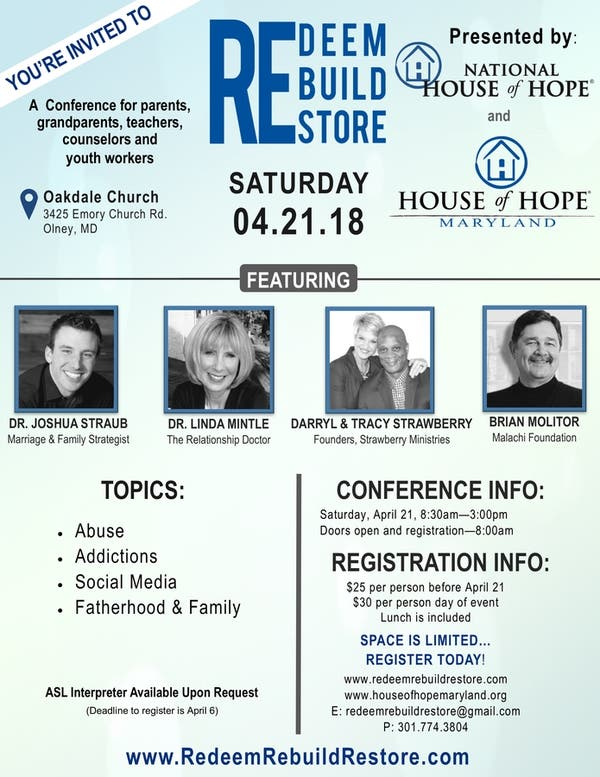 Conference For Parents Saturday April >> Apr 21 Redeem Rebuild Restore Parenting Conference On Sat April