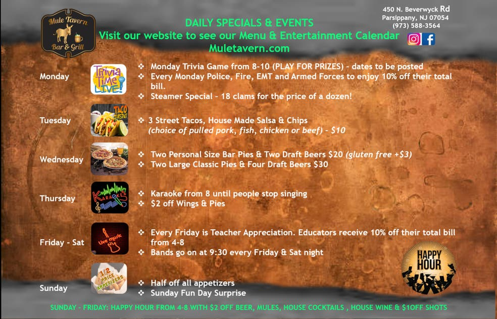 Mule Tavern Daily Specials   Parsippany, NJ Patch