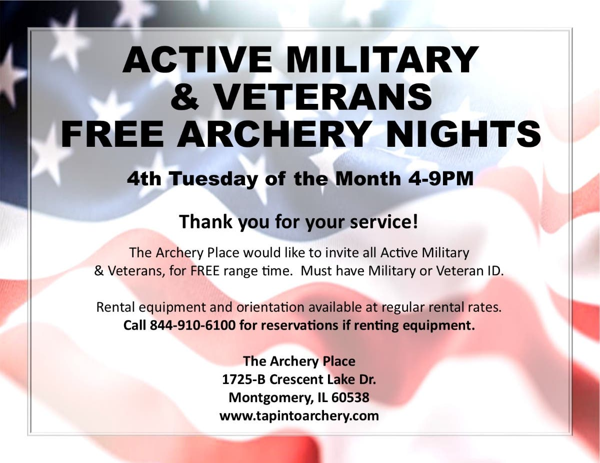 Apr 23   Active Military & Veterans Free Archery Nights   Montgomery