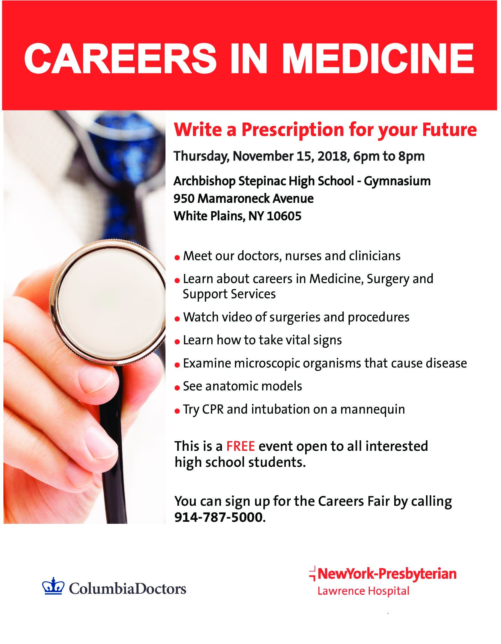 Nov 15 | Careers in Medicine Event for Local High School Students